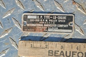 Original Ihc International Lb 3 5 Hp Hit Miss Gas Engine Name Tag