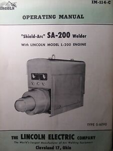 Lincoln Sa 200 Short Hood L 200 Gas Engine 1955 S 6090 Dc Welder Owners Manual