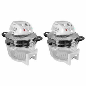 Nutrichef Kitchen Countertop Air Fryer Oven Cooker W 13 Quart Bowl 2 Pack