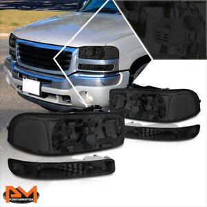 For 99 07 Sierra yukon Gmt800 Smoked Housing Bumper Headlight Clear Corner Lamps