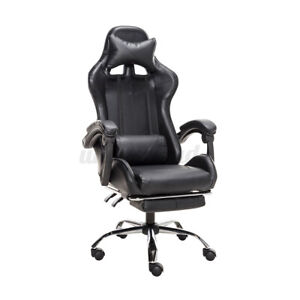 Black Leather Office Home Gaming Chair High Back Swivel Recliner Seat Footrest