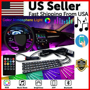 4x 36 Led Car Suv Interior Decor Neon Atmosphere Light Strip Music Control Us