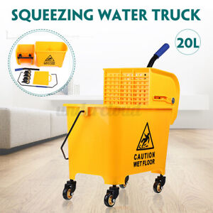 5 Gallon Commercial Mop Bucket Trolley Press With Wringer Combo Rolling Cleaning