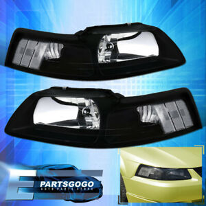 For 99 04 Mustang Gt Crystal Black Headlights Lamps Corner Turn Signal Clear
