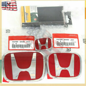 3pc Fits Honda Civic Sedan 4dr 06 15 Red Jdm H Front Rear Steering Emblem Grille
