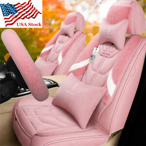 Full Set Pink Plush Fur Car Seat Cover Winter Warm Pad Steering Cover Universal