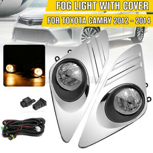 Pair Front Bumper Fog Light Lamps With Chrome Covers Kit For Toyota Camry 12 14