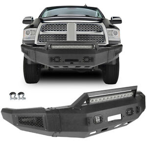 Powder Coated Front Bumper Assembly Winch Ready W Lights For 2010 2018 Dodge Ram