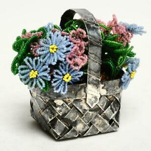 Vintage Sterling Silver Small Woven Basket W Beaded Flowers French
