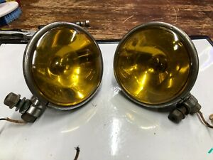 Pair Vintage S m Fog Spot Search Light Spot Early Old Car Fire Truck Wrecker 6v