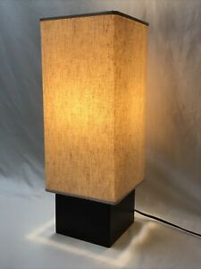 Vtg Mid Century Modern Table Lamp Danish 60s Style Square Wood Base Cube Minimal
