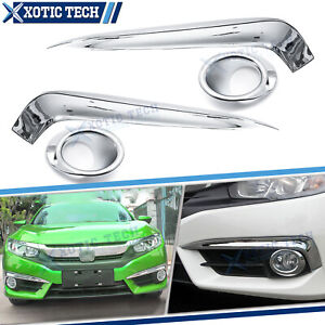 For Honda Civic 2016 2018 10th Chrome Front Fog Light Eyelid Strips Ring Trim