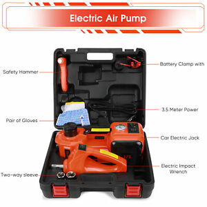 Car Jack 12v Dc 5 Ton Electric Hydraulic Floor Lift Jack Impact Wrench Garage