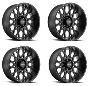Set 4 20x10 Vision Off Road 412 Rocker Black 6x5 5 Wheels 25mm Rims W Lugs
