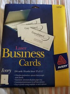 Avery Laser Business Cards Heavyweight 2 X 3 5 Ivory 250 Labels Per Pack