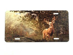 Deer Camouflaged In Woods Aluminum Vanity License Plate Car Tag