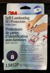 3m 25 X Self Laminating Id Protectors With Clips Ls852p
