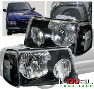 2001 2008 Ford Ranger Black Housing Headlight Corner Signal Lamps Pair