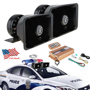 Dual 400w Car Warning Alarm Siren Speaker Horn 18 Sound Amplifier Mic Pa 12v Usa