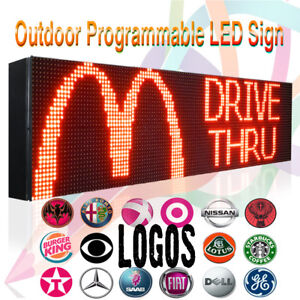 7 X 50 Outdoor Programmable Red Display Text logo Graphic Super Bright Sign