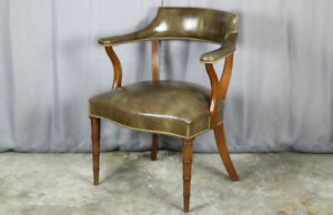 Vintage Hickory Chair Company Leather Arm Chair With Faux Bamboo Walnut Legs