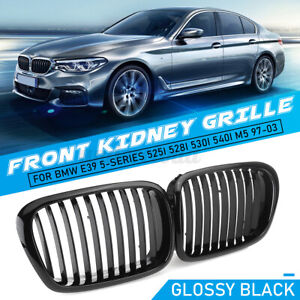 Pair Glossy Black Kidney Grille Grill For Bmw E39 5 series 525i 528i M5 1997 03