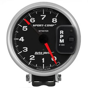Autometer 3980 Sport comp Monster Tachometer With Black Dial Face
