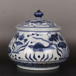 Chinese Antique Ming Blue And White Fish Algae Pattern Porcelain Pillow