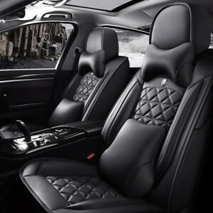Deluxe Car Seat Cover 5 Sit Front Rear Pu Leather Cushion Full Set For Suv Truck