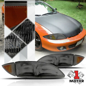 Smoke Tinted Headlight Lamp Amber Turn Signal Reflector For 95 99 Chevy Cavalier