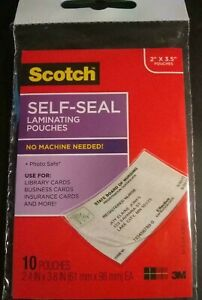 New Scotch 3m Self sealing Laminating Pouches 2 X 3 5 10 Pk Business Cards
