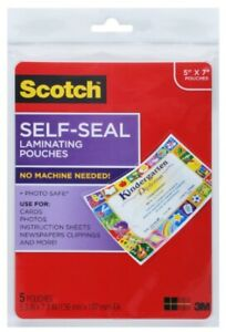 Scotch 3m Self sealing Laminating Pouches 5 X 7 5 Pouches