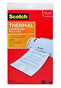 Scotch Thermal Laminating Pouches 20 pack 3 5 Mil 8 5 X 14 Inches
