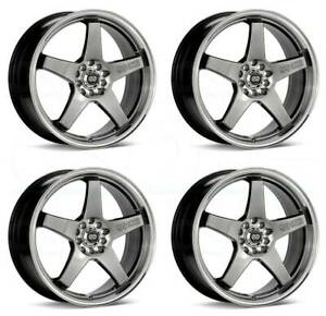 17x7 Enkei Ev5 5x100 114 3 38 Hyper Black Wheels Rims Set 4
