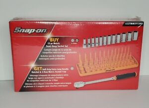 Snap On Tools 12pc Mm Semi Deep Socket Set Extra Long Handle Ratchet Tray Orange