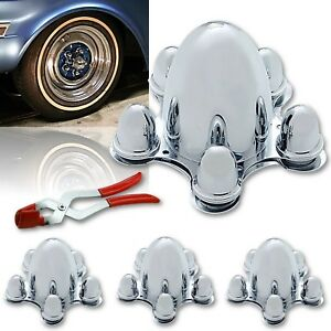 5 On 5 Spider Steel Chrome Hubcaps Wheel Covers W Lug Nut Puller Set Of 4