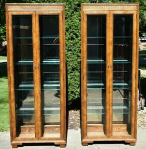 Matching Pair Of Henredon Solid Oak Curio Cabinets Campaign