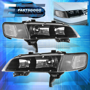 For 94 97 Honda Accord Cb Jdm Black Headlights Clear Corner Reflector Lamps