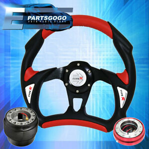 Black Red Battlestyle Steering Wheel Red Slim Quick Release For 89 05 Eclipse