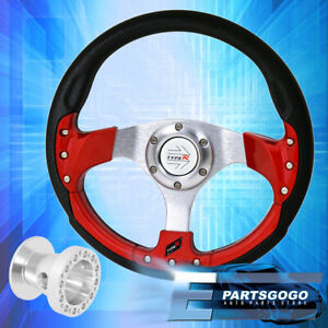 320mm 9 Bolt Red Fusion Style Steering Wheel Type R Button For 86 01 Integra