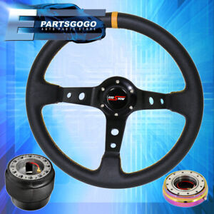 Godsnow Black Yellow Steering Wheel Neo Chrome Quick Release For 92 95 Civic