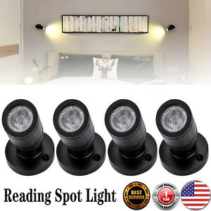 4pcs 12v Flexible Led Reading Light Rv Suv Trailer Boat Bedroom Wall Lamp Black