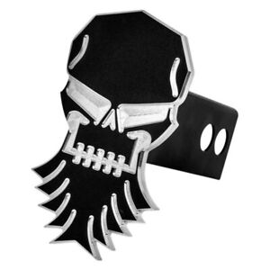 Ami Bearded Skull Style Black Powder Coat Hitch Cover For 2 Receivers