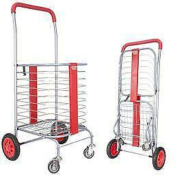 Dbest Products Cruiser Cart 360 Red Shopping Rolling Folding Laundry Basket