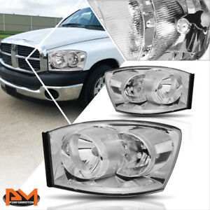 For 06 09 Dodge Ram 1500 2500 3500 Headlight Lamps Replacement Clear Side Chrome