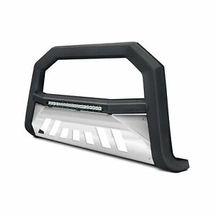 For Ford Expedition 03 17 Ar Series Black Led Bull Bar W Brushed Skid Plate