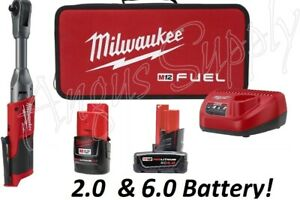 Milwaukee 2560 21 M12 Fuel 3 8 Drive Extended Ratchet Wrench With 2 Batteries