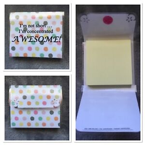 Sticky Note Holder Concentrated Awesome 100 Sheet Pad Novelty Fold up Case Gif