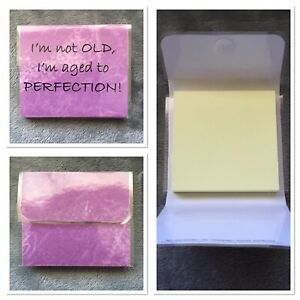 Sticky Note Holder Aged To Perfection 100 Sheet Pad Novelty Fold up Case Gift