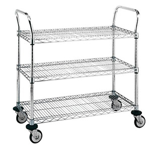 Metro Mw711 Chrome Plated Wire Utility Cart 3 Shelves 375 Lbs Capacity 36 X